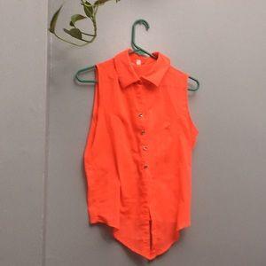 🧡NEON🧡 orange button up vest by 💛BONGO💛
